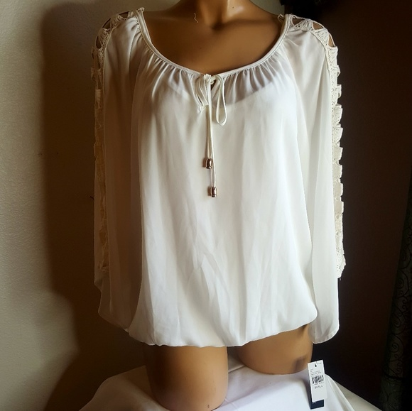 b3d4b97656fe0f ALYX sheer layered white tie front blouse size S